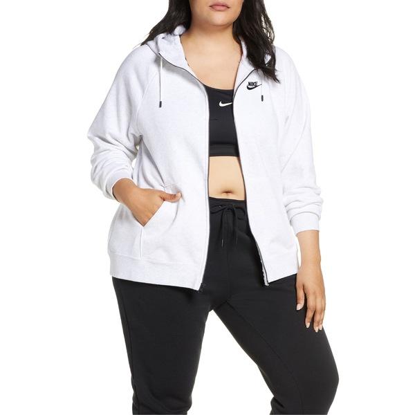 ナイキ レディース パーカー・スウェットシャツ アウター Nike Sportswear Essential Full Zip Fleece Hoodie (Plus Size) Birch Heather/ Black