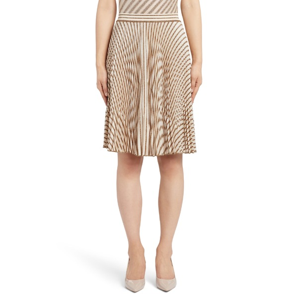 ミッソーニ レディース スカート ボトムス Missoni Pleated Metallic Stripe Knit Skirt Cream/ Gold