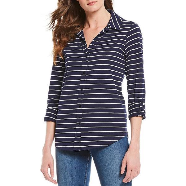 ウェストボンド レディース Tシャツ トップス Striped 3/4 Roll-Tab Sleeve Button Up Cotton Shirt Blue White Stripe