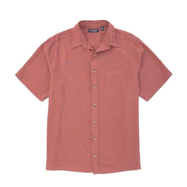 ランドツリーアンドヨーク メンズ シャツ トップス Big & Tall Short-Sleeve Solid Textured Shirt Red Rust