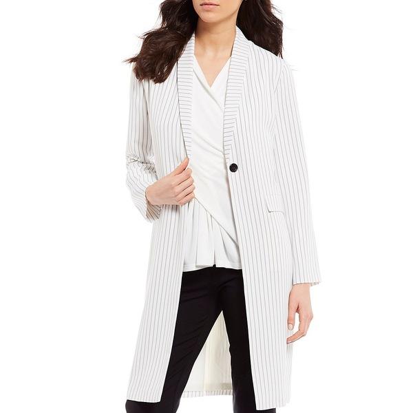 ダナキャラン レディース ジャケット&ブルゾン アウター New York Striped Long Sleeve Robe Jacket Cream/Navy