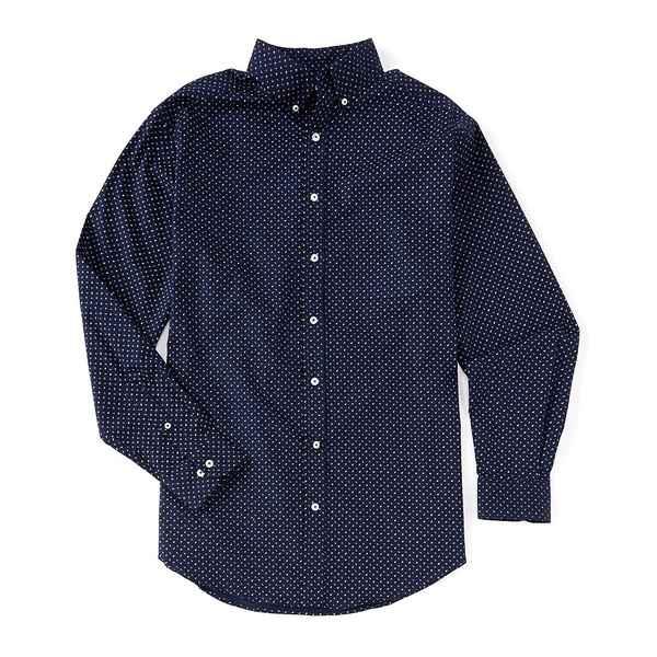 ランドツリーアンドヨーク メンズ シャツ トップス Luxury Cotton Long-Sleeve Geo Printed Sportshirt Deep Blue