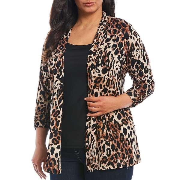 ボベー レディース ニット&セーター アウター Plus Size Mixed Cheetah Print Shawl Collar Open Front Cardigan Mixed Cheetah/Brown