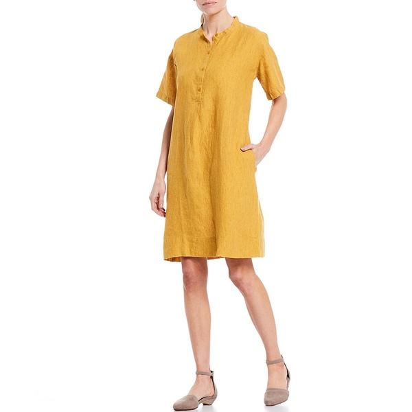 エイリーンフィッシャー レディース ワンピース トップス Washed Organic Linen Delave Mandarin Collar Short Sleeve Dress Marigold