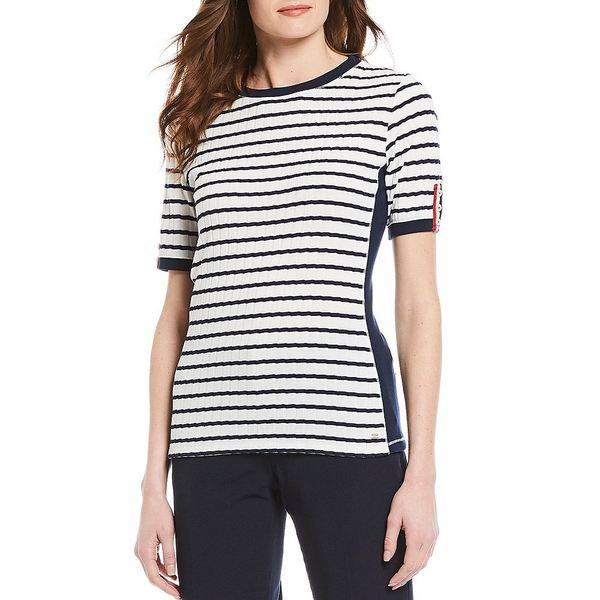 トミー ヒルフィガー レディース Tシャツ トップス Stripe Rib Knit Crew Neck Short Sleeve Side Panel Top Ivory/Sky Captain
