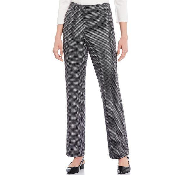 インベストメンツ レディース カジュアルパンツ ボトムス Petite Size the REGENT ST fit Pull-On Straight Leg Geo Print Pants Black/White Geo