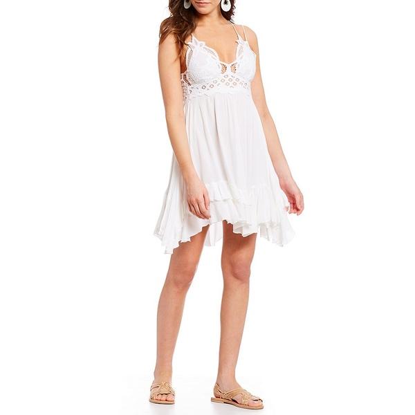 フリーピープル レディース ワンピース トップス Adella Lace Slip Ruffle Tiered Asymmetrical Hem Spaghetti Strap Flounce Mini Dress White