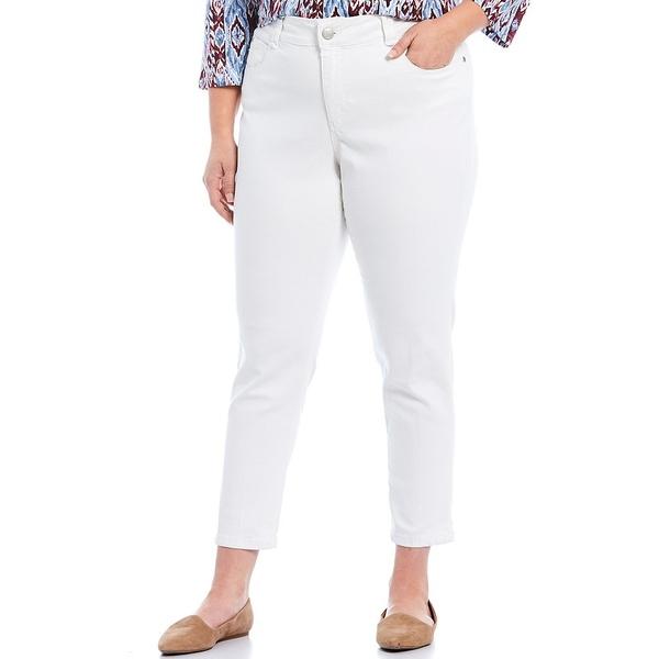 ルビーロード レディース カジュアルパンツ ボトムス Plus Size Flat Front Super Soft Stretch Denim Ankle Pants White