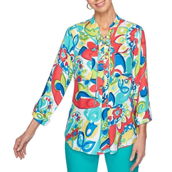 ルビーロード レディース シャツ トップス Petite Size Floral Paisley Print Lace-Up Front Roll-Tab Sleeve Twill Top Jade Multi