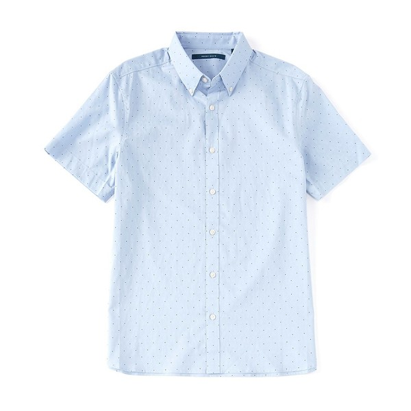 ペリーエリス メンズ シャツ トップス Dot Print Dobby Short-Sleeve Woven Shirt Forever Blue