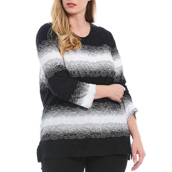 アリソンダーレイ レディース Tシャツ トップス Plus Size Ombre Wave Texture Knit 3/4 Sleeve Top Black Ombre