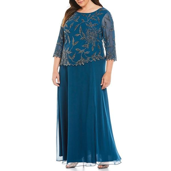 ジェイカラ レディース ワンピース トップス Plus Asymmetrical Beaded Scalloped Gown Teal/Multi