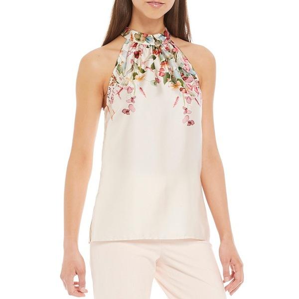 アントニオメラニー レディース シャツ トップス Beth Drapey Twill Floral Placement Print Halter Sleeveless Top Vanilla/Bubblegum