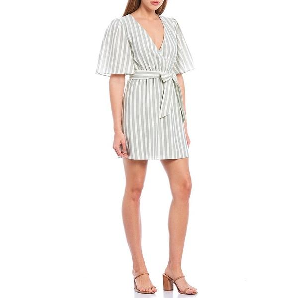 ジアーニビニ レディース ワンピース トップス Billie V-Neck Short Sleeve Striped Tie Front Wrap Dress Sage/Ivory