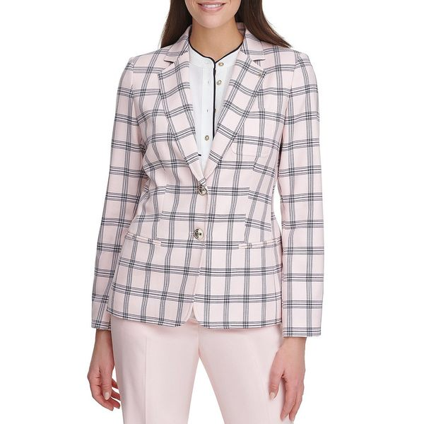 トミー ヒルフィガー レディース ジャケット&ブルゾン アウター Plaid Stretch Woven Two-Button Front Elbow Patch Jacket Ballerina Pink/Midnight