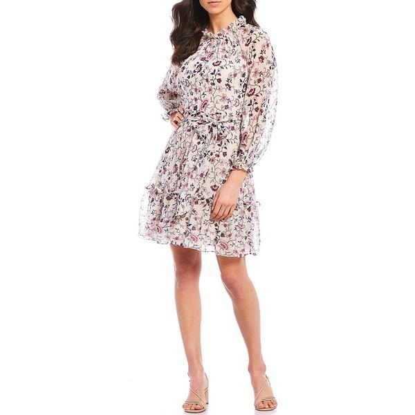 エリザジェイ レディース ワンピース トップス High Neck Tiered Ruffle Floral Print Long Sleeve Chiffon Dress Ivory