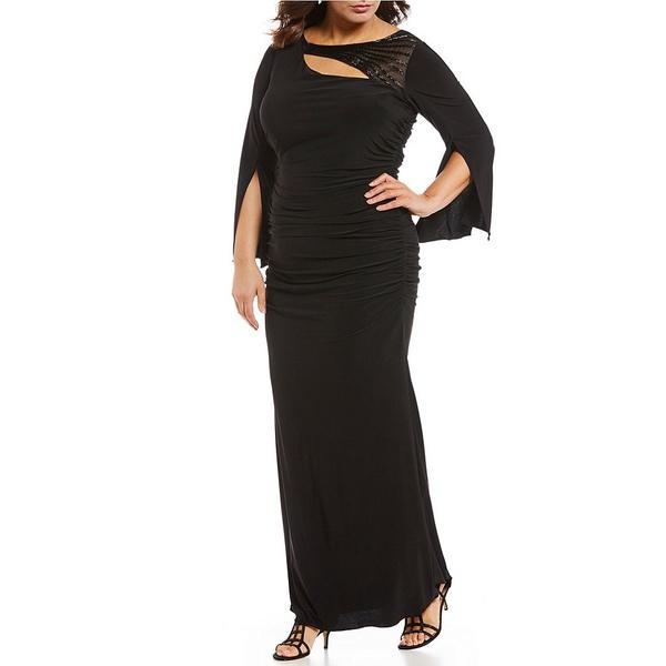 アドリアナ パペル レディース ワンピース トップス Plus Size Beaded Split Long Sleeve Matte Jersey Gown Black