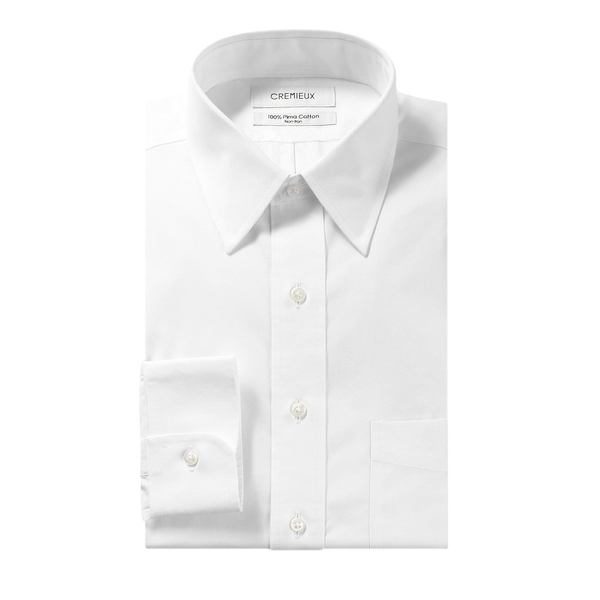 クレミュ メンズ シャツ トップス Non-Iron Classic-Fit Point-Collar Solid Dress Shirt White