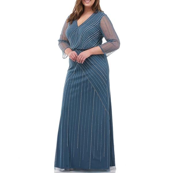 ジェイエスコレクションズ レディース ワンピース トップス Plus Size 3/4 Illusion Sleeve Beaded Mesh Draped Surplice Gown Mineral Blue