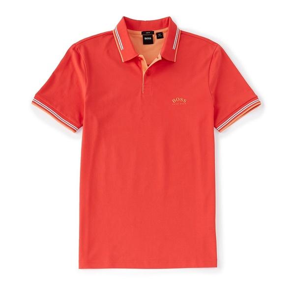 ヒューゴボス メンズ ポロシャツ トップス BOSS Slim-Fit Paul Curved Logo Short-Sleeve Polo Shirt Bright Red