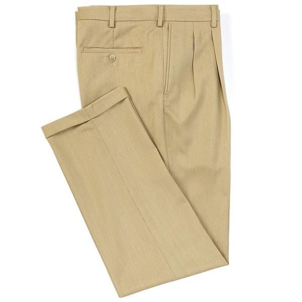 ランドツリーアンドヨーク メンズ カジュアルパンツ ボトムス TravelSmart Pattern Pleated Dress Pants Tan