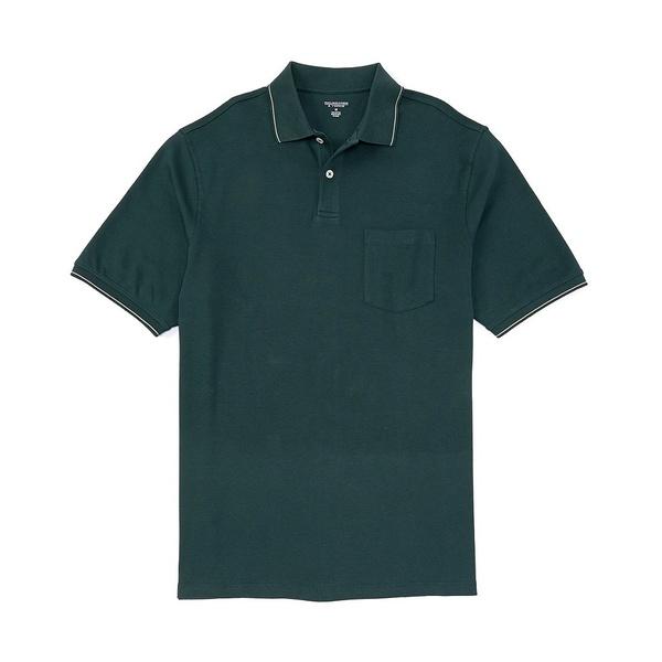 ランドツリーアンドヨーク メンズ ポロシャツ トップス Short-Sleeve Solid Pocket Polo Spruce Green