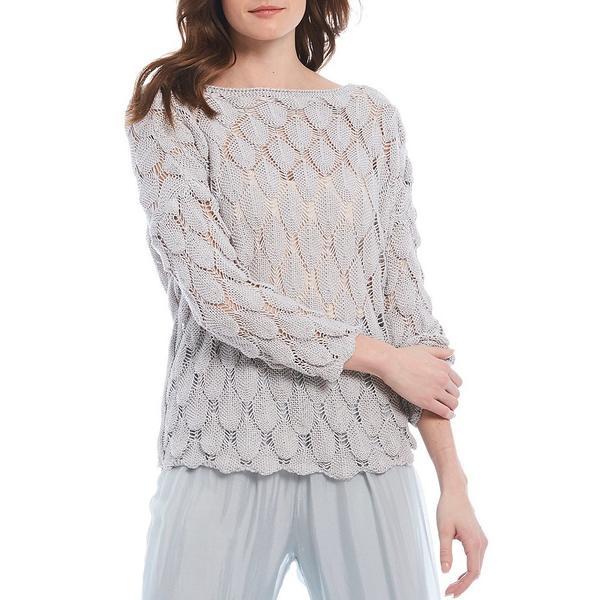 エム・メイド・イン・イタリー レディース ニット&セーター アウター Textured Open Weave Knit Scallop Hem Top Silver