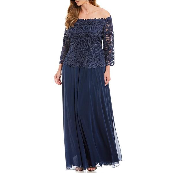 ソウルメイト レディース ワンピース トップス Plus Size Off-the-Shoulder Beaded Bodice Lace Gown Navy