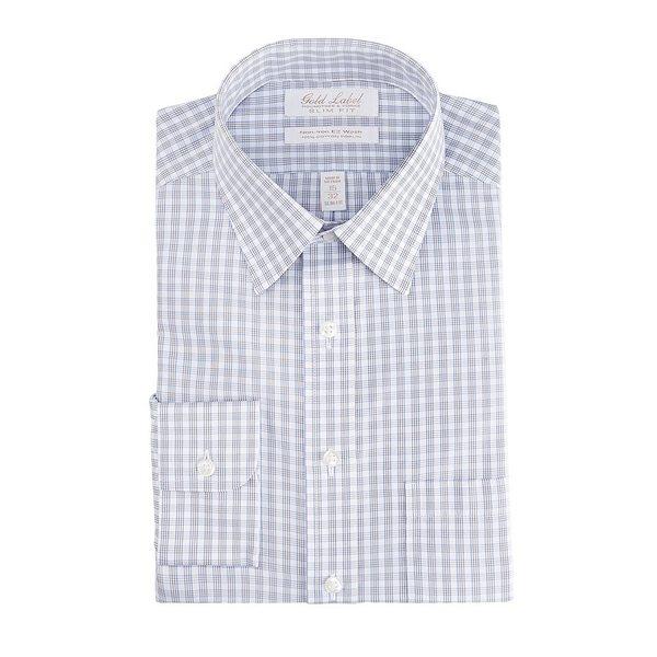 ランドツリーアンドヨーク メンズ シャツ トップス Gold Label Roundtree & Yorke Non-Iron Slim Fit Point Collar Grey Checked Dress Shirt Grey multi