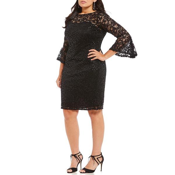 マリーナ レディース ワンピース トップス Plus Sequin Lace Bell-Sleeve Dress Black