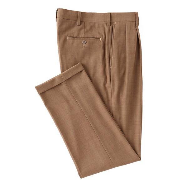 ランドツリーアンドヨーク メンズ カジュアルパンツ ボトムス Travel Smart Ultimate Comfort Classic Fit Pleat Front Non-Iron Plaid Dress Pants Tan