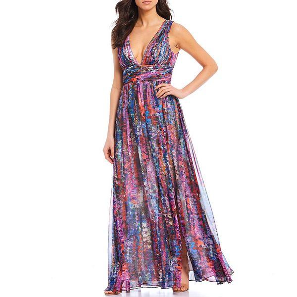 エイダン?エイダン?マトックス レディース ワンピース トップス Deep V-Neck Sleeveless Printed Chiffon Gown Blue Multi
