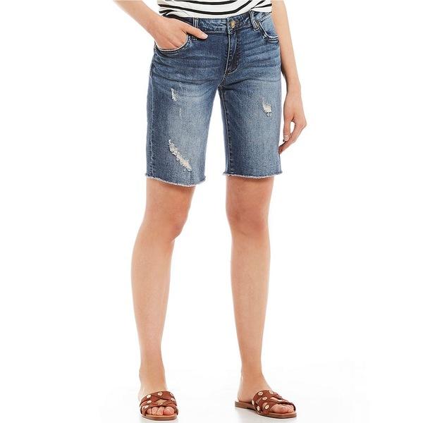 カットフロムザクロス レディース カジュアルパンツ ボトムス Sophie Distressed Frayed Hem Denim Bermuda Shorts Receive