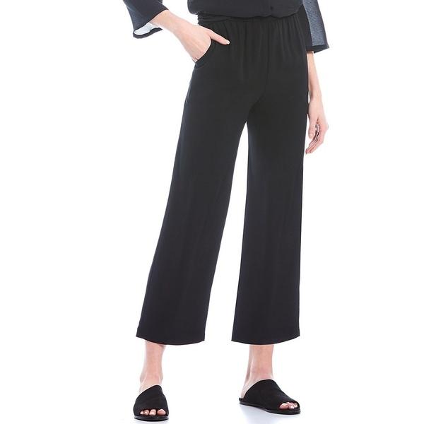 エイリーンフィッシャー レディース カジュアルパンツ ボトムス Silk Georgette Crepe Straight Crop Pant Black