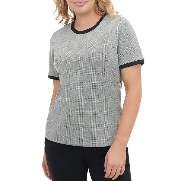 アリソンダーレイ レディース Tシャツ トップス Petite Size Glen Plaid Print Ponte Knit Contrast Trim Crew Neck Short Sleeve Top Grey Glen Plaid