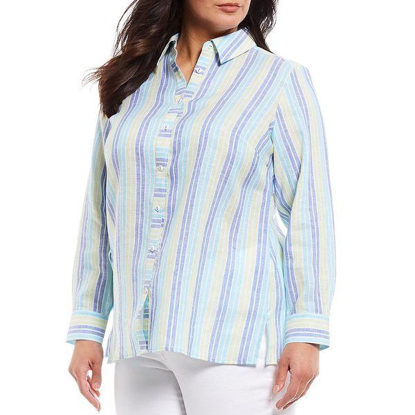 フォックスクラフト レディース シャツ トップス Plus Size Journey Coastal Stripe Print Easy Care Linen Shirt Island Sky