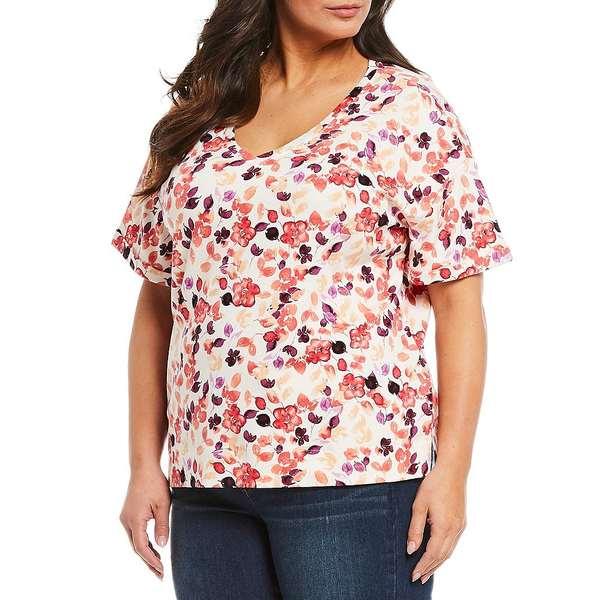 ウェストボンド レディース Tシャツ トップス Plus Size Luminous Blossom Floral Print V-Neck Short Sleeve Tee Luminous Blossoms
