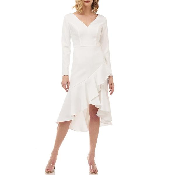ケイアンガー レディース ワンピース トップス Parker Crepe Cascading Ruffle Long Sleeve V-Neck Dress Winter White