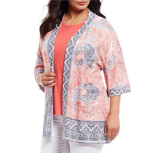 ウェストボンド レディース ニット&セーター アウター Plus Paisley Elbow Sleeve Kimono Cardi Paisley Border