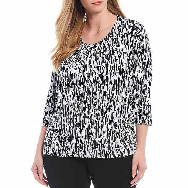 アリソンダーレイ レディース Tシャツ トップス Plus Size Abstract Print Pleated Scoop Neck Knit Top Abstract Lines