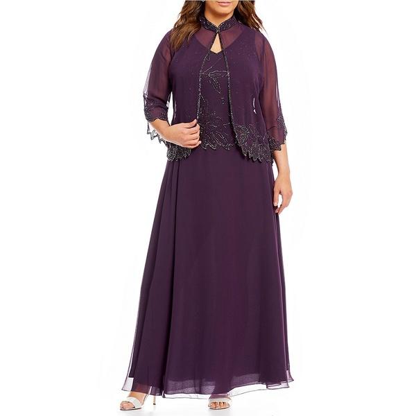 ジェイカラ レディース ワンピース トップス Plus Floral Beaded Bodice 2-Piece Jacket Dress Plum/Wine