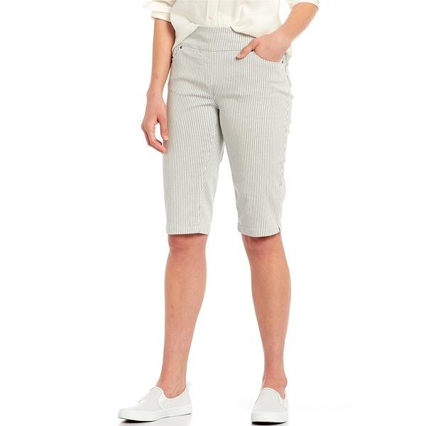ウェストボンド レディース カジュアルパンツ ボトムス Petite Size the PARK AVE fit Black Striped Cotton Blend Skimmer White/Black Stripe