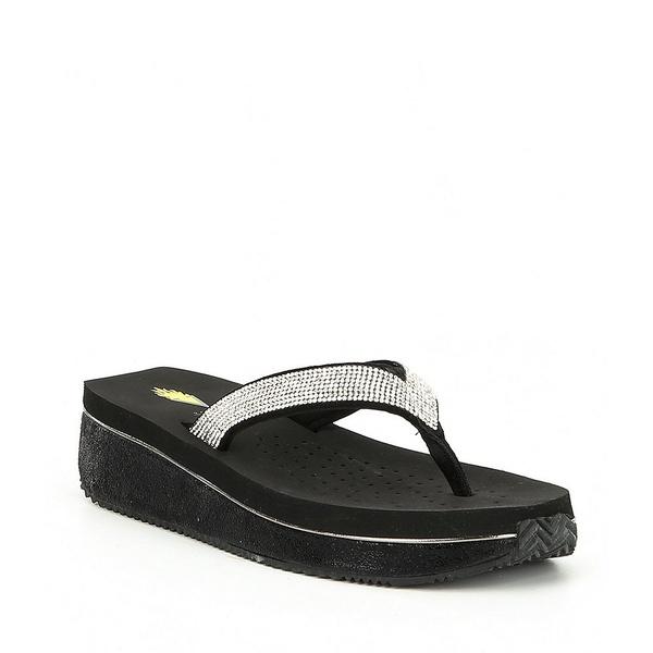 ボラティル レディース サンダル シューズ Eleanor Rhinestone Embellished Wedge Thong Sandals Black