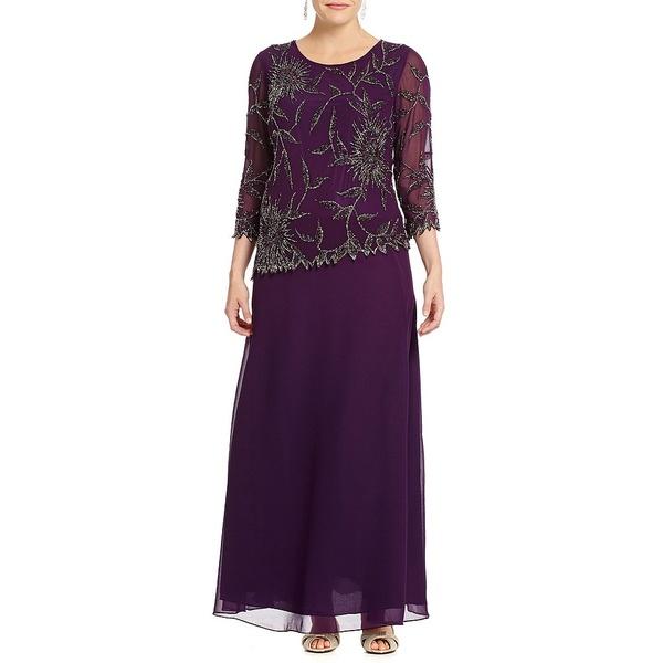 ジェイカラ レディース ワンピース トップス Plus Asymmetrical Beaded Scalloped Gown Plum/Multi