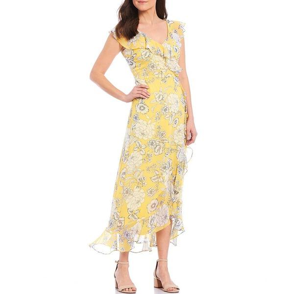 ロンドンタイムス レディース ワンピース トップス Ruffle Chiffon Floral Print Maxi Dress Yellow/Navy