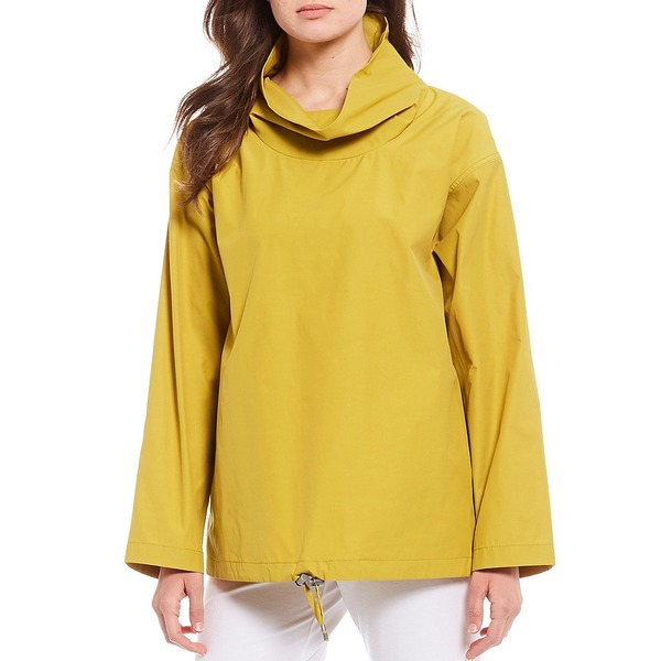エイリーンフィッシャー レディース ジャケット&ブルゾン アウター Light Organic Cotton Blend Fine Weave Sheen Drape Neck Pullover Fern
