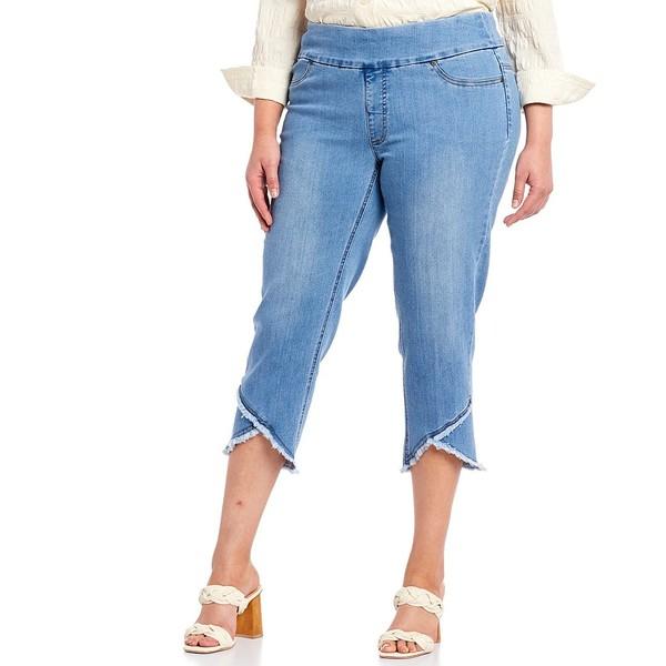 マルチプルズ レディース カジュアルパンツ ボトムス Plus Size Wide Waistband Pull-On Fringed Lapped Hem Crop Pants Light Indigo
