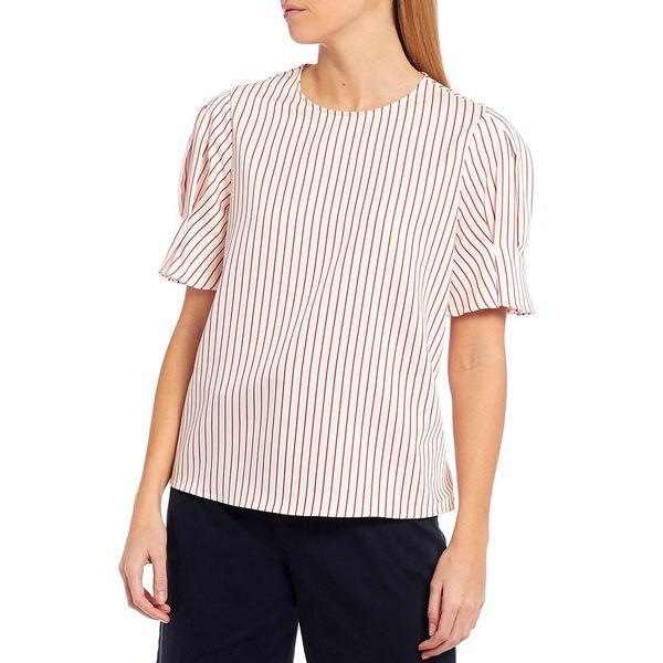 クレミュ レディース シャツ トップス Millie Novelty Stripe Puff Sleeve Blouse Ivory/Cherry