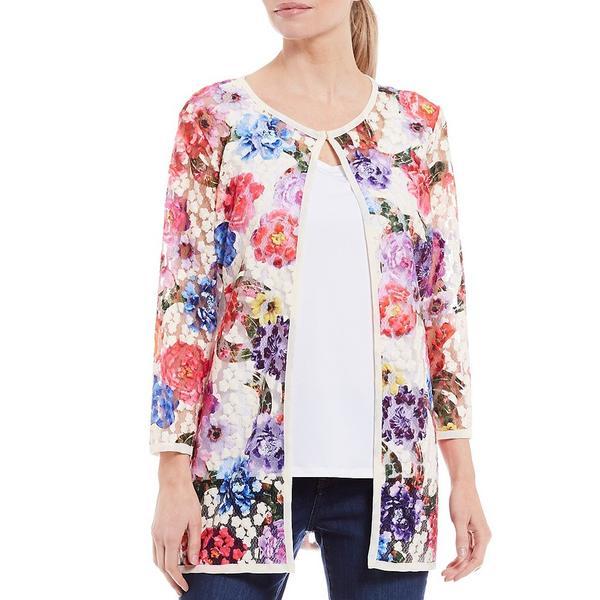 アリ マイルス レディース ジャケット&ブルゾン アウター Embroidered Floral Mesh 3/4 Sleeve Jacket Floral Multi