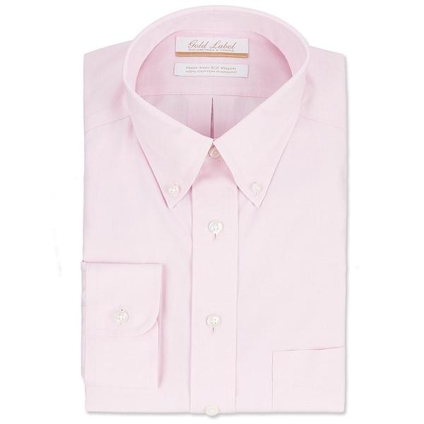 ランドツリーアンドヨーク メンズ シャツ トップス Gold Label Roundtree & Yorke Non-Iron Full-Fit Button-Down Collar Solid Dress Shirt Pink